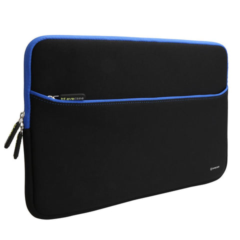 Evecase 15.6-Inch Ultra-Slim Neoprene Padded Sleeve Pouch Bag w/Accessory Pocket for Laptop/Gaming Laptop/Notebook / Ultrabook/Chromebook (Black and Blue Trim) …