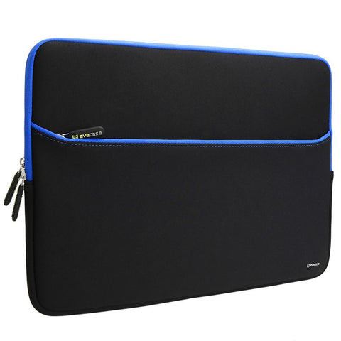 Evecase Universal Neoprene Sleeve Case w/Accessory Pocket for 17inch-17.3inch LCD Display-Black w/BlueTrim