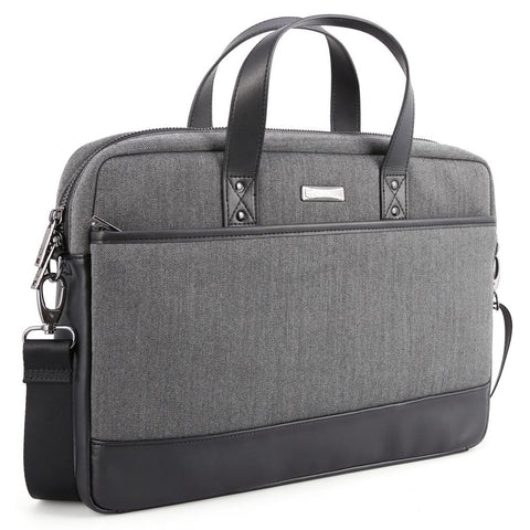 Evecase 15.6inch Fabric and Leather Modern Briefcase Laptop Messenger Bag - Black / Gray