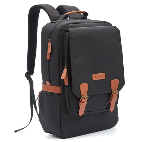 Evecase Water Resistant Multipurpose City Laptop Backpack fits up to 17-inch Laptop - Black and Brown Buckle