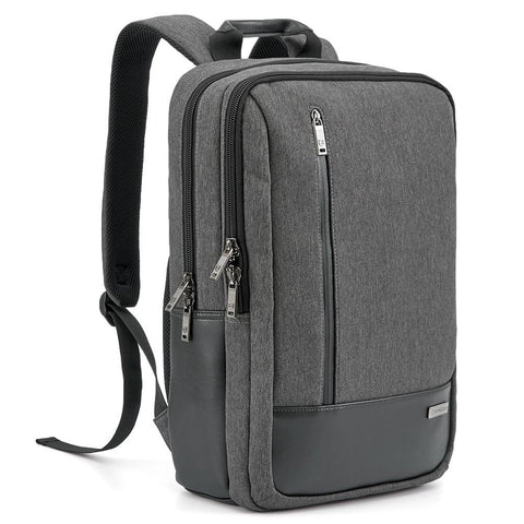 Evecase Fabric and Leather Modern Business Laptop Backpack with Accessory Pockets - Black / Gray
