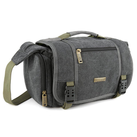 Evecase Canvas DSLR Camera Messenger Shoulder Bags - Gray