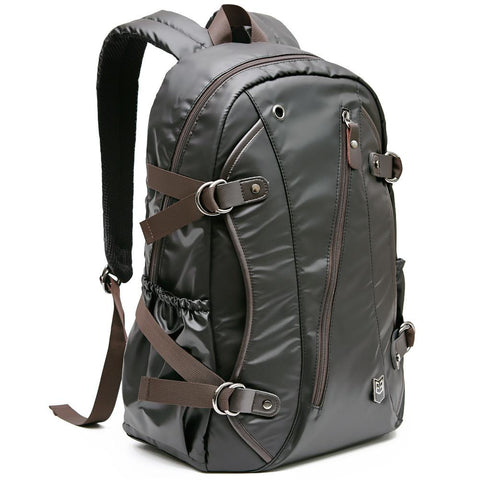 Evecase 15~16 inch PU Leather WaterProof School and Laptop Backpack