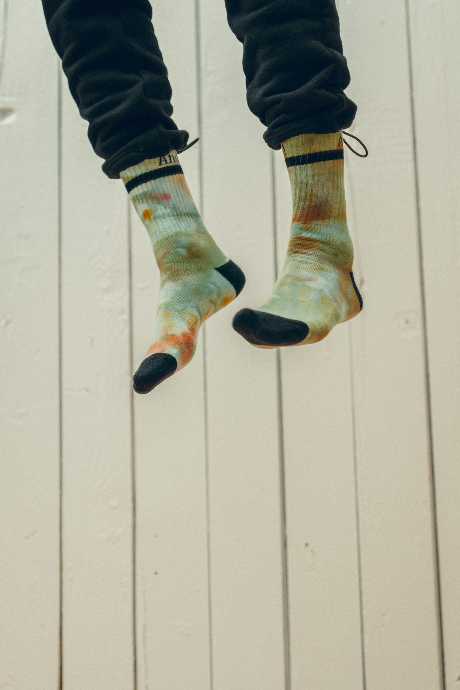 Both/And Crew Sock. Tie-dye & Black.