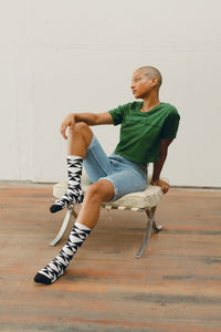 Geo Sparrow Sock, Black & White