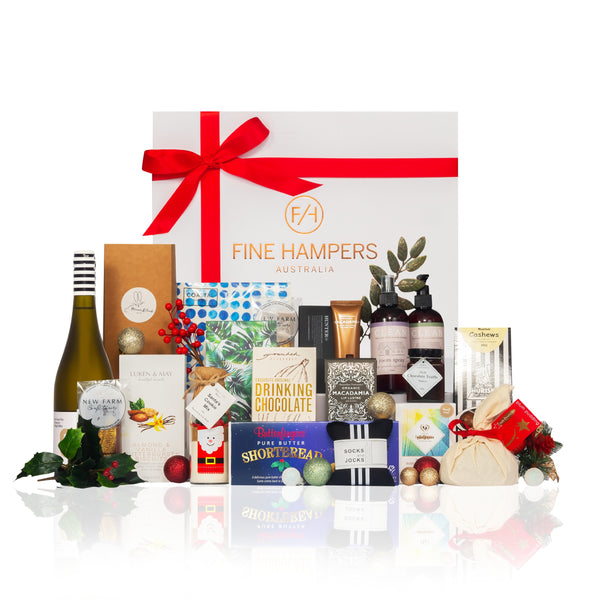 White gloss gift box with red ribbon and gourmet foods and items