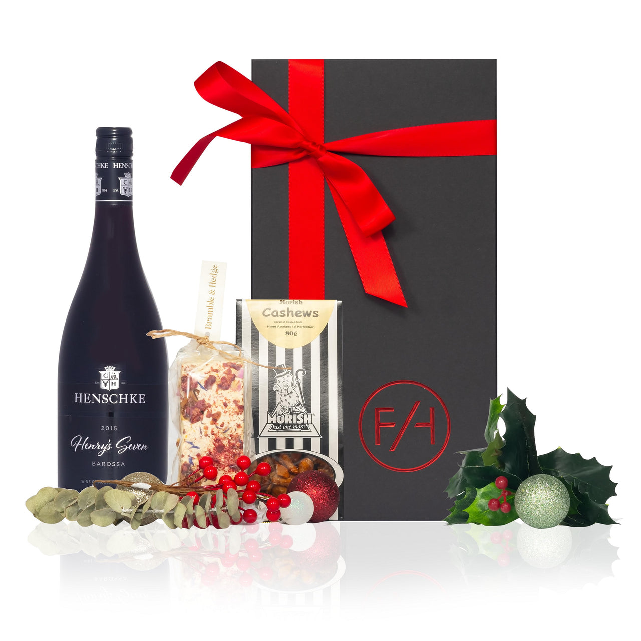 Black Gift Box red ribbon with wine, nougat and nuts