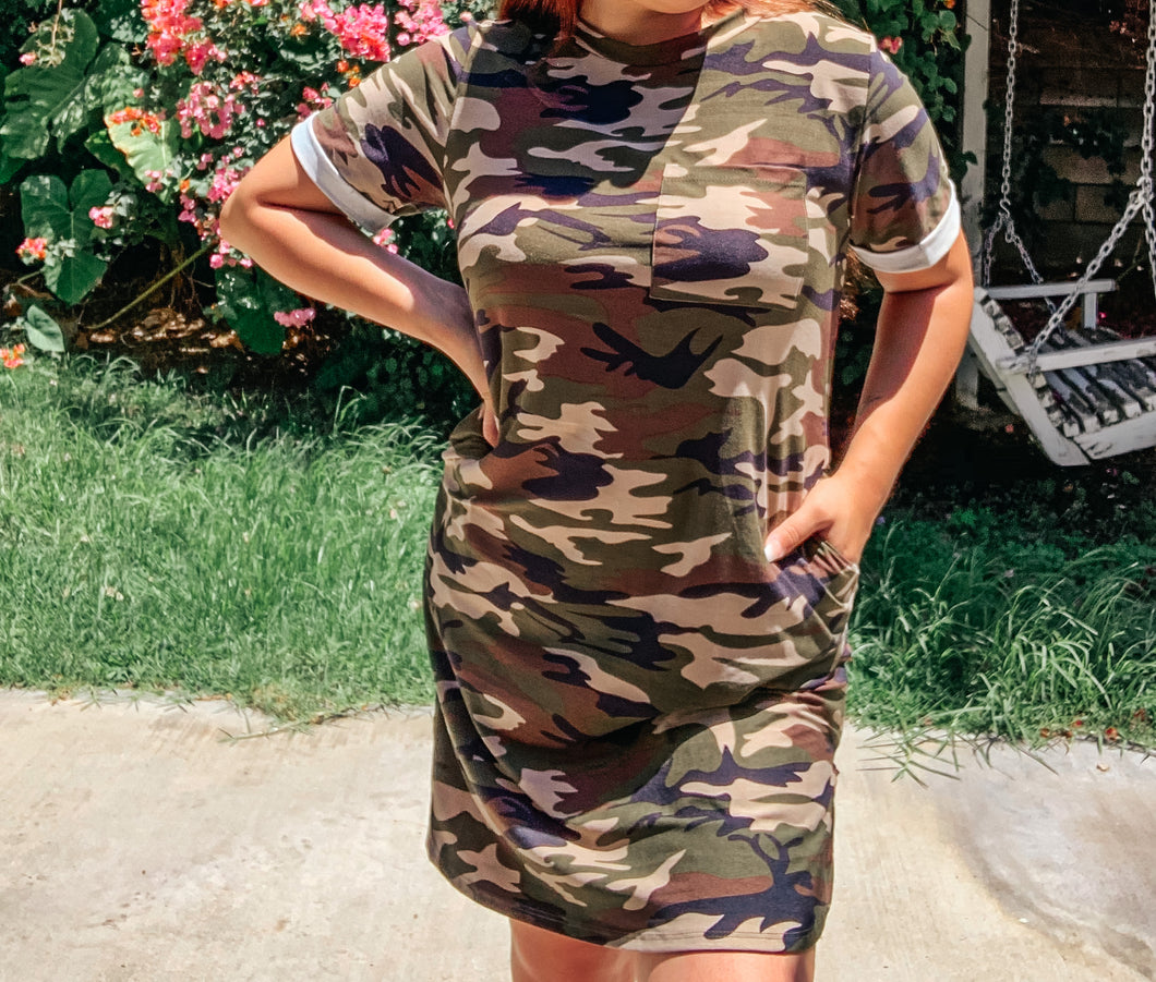 Camouflage Dress-Plus