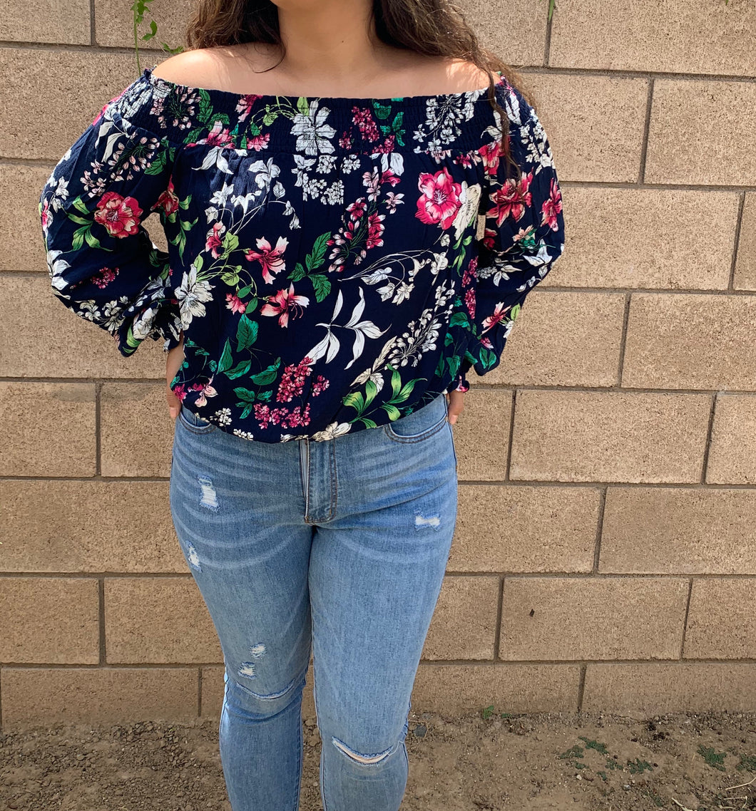 Flower Child Off The Shoulder Top-Plus