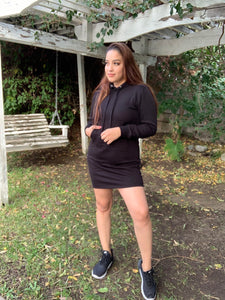 Edgy Girl Hoodie Dress-Black
