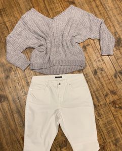 Carla Off The Shoulder Sweater-Gray