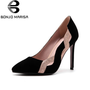 BONJOMARISA Women's Thin High Heel Pointed Toe Color Mixed Party Wedding Sh