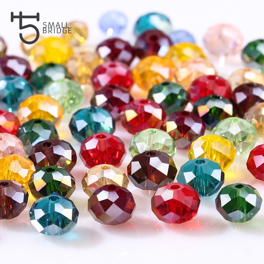 Czech Crystal Glass Faceted Rondelle Beads 4 x 6mm Yellow//Green 90 Pcs Crafts