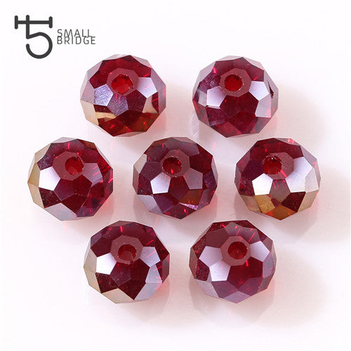 Wholesale Faceted Spacer Deep Red Glass Beads 3-12mm Findings Rondelle Making