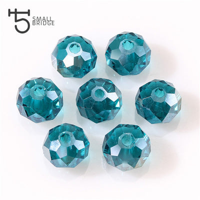 50 Piece Light Blue AB Crystal Glass Faceted Beads Jewelry Making Rondelle 4-8mm