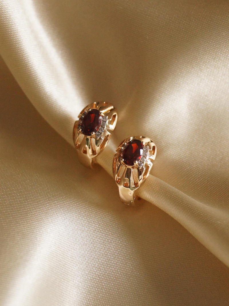 ALIDA Earrings - Ruby Red *Gold-plated // GABI EXCLUSIVE