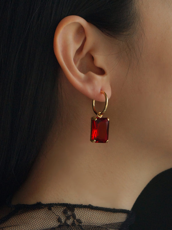 ANASTASIA Earrings - Ruby Red *Gold-plated (GABI PREMIUM)