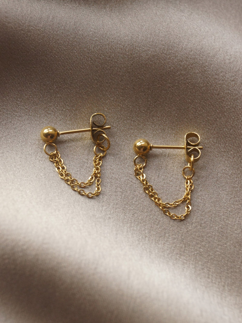 Ball with Chain Studs - Gold *18k Gold-plated S925