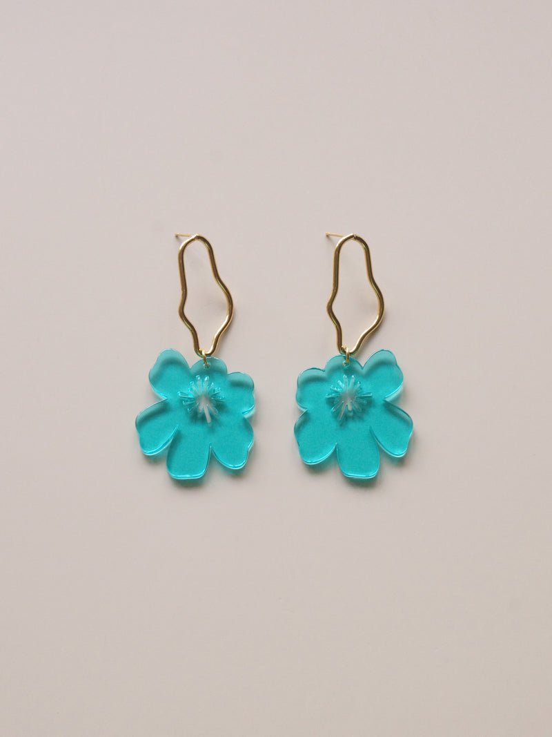 Anemone Earrings - Aqua Blue