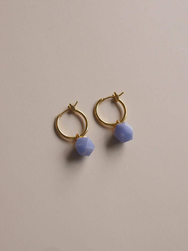 Little Stone Hoops - Cornflower Blue *18K Gold-plated