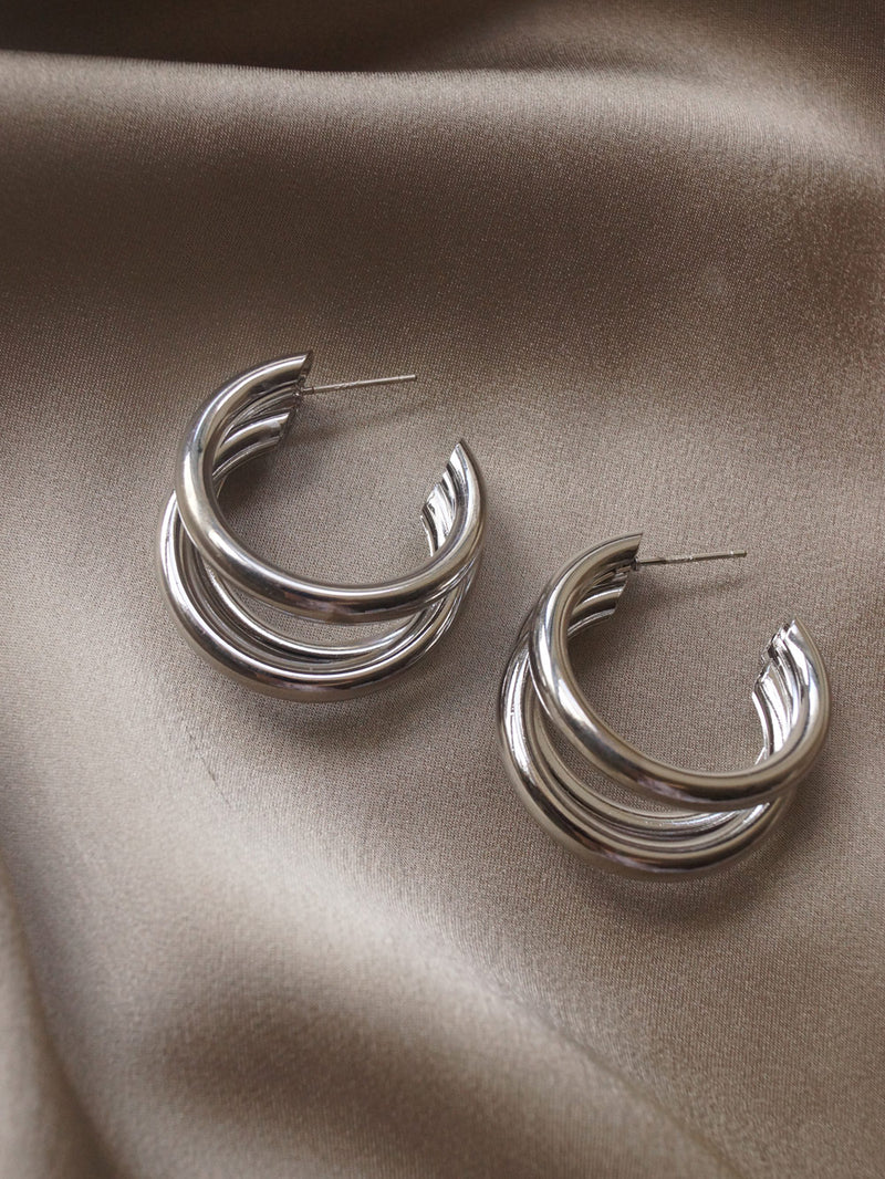 Bold Triple Hoops - Silver *Platinum-plated