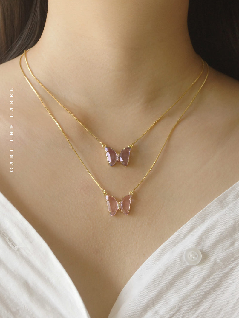 LOVEDAY Necklace - Pink *Gold-plated