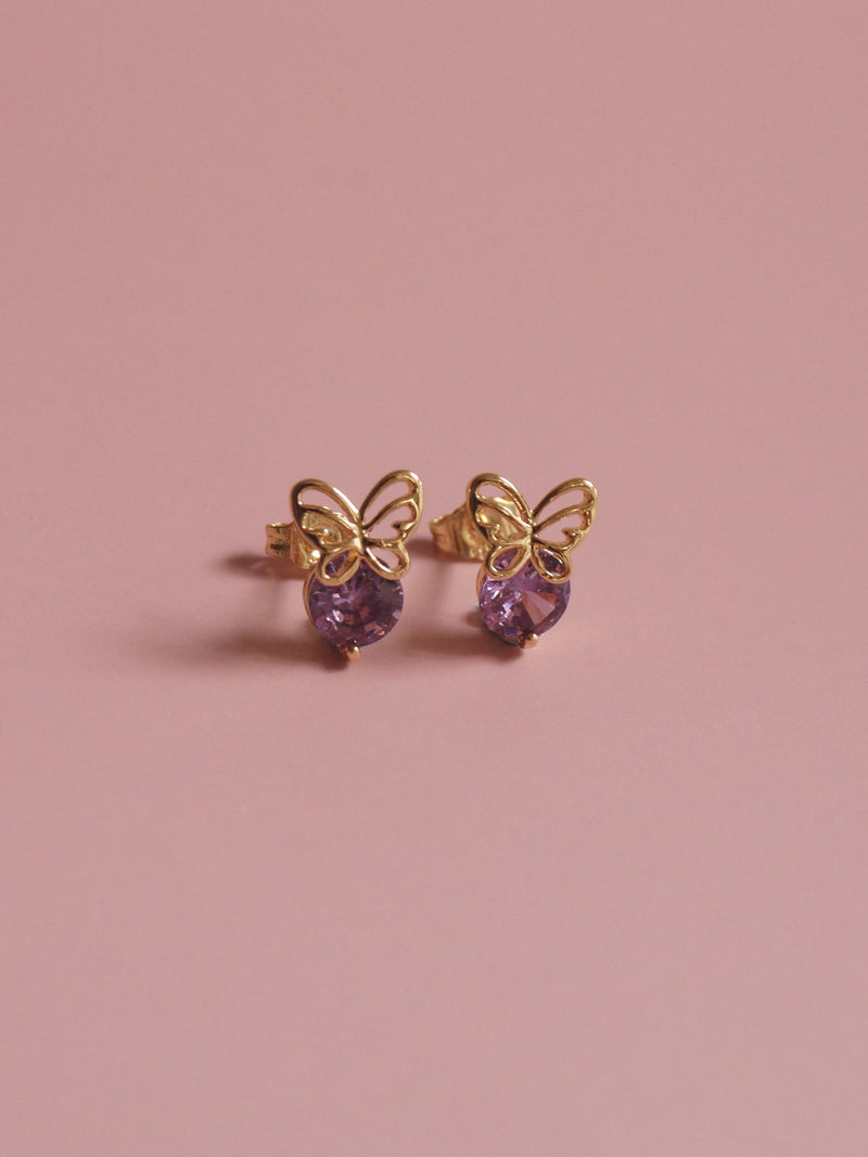 BUTTERFLY Earstuds - Purple *Gold-plated