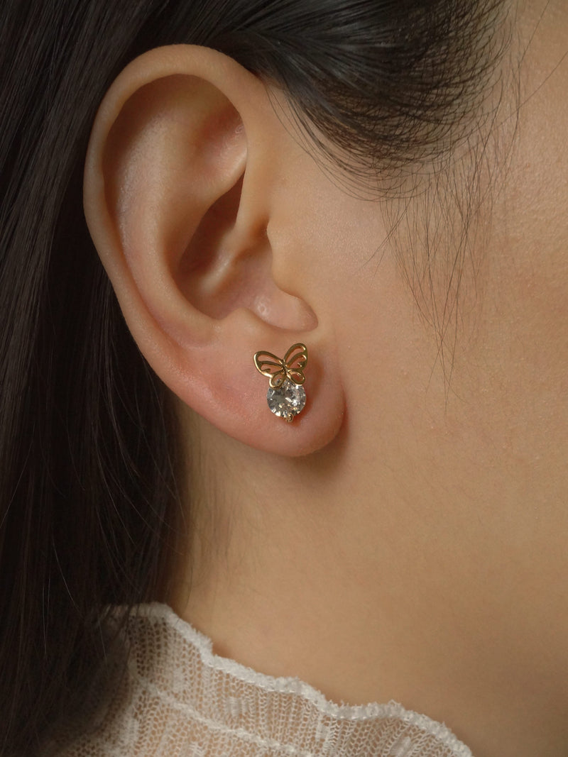 BUTTERFLY Earstuds - Clear *Gold-plated