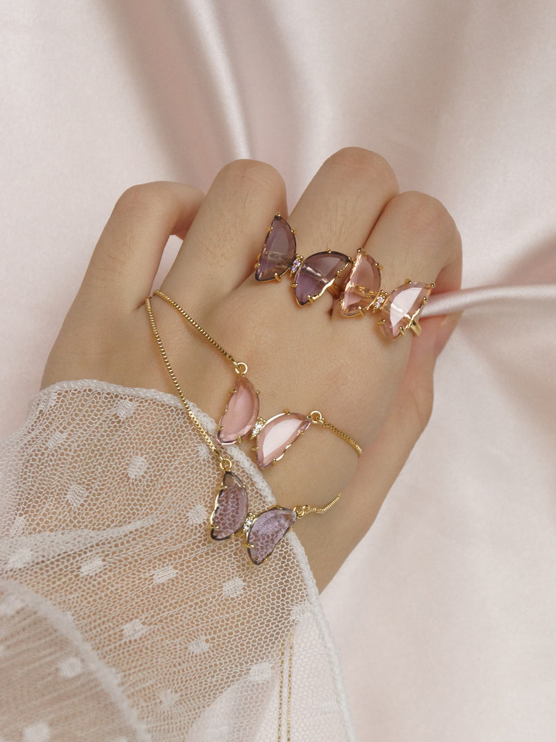 LOVEDAY Butterfly Ring - Pink *Gold-plated