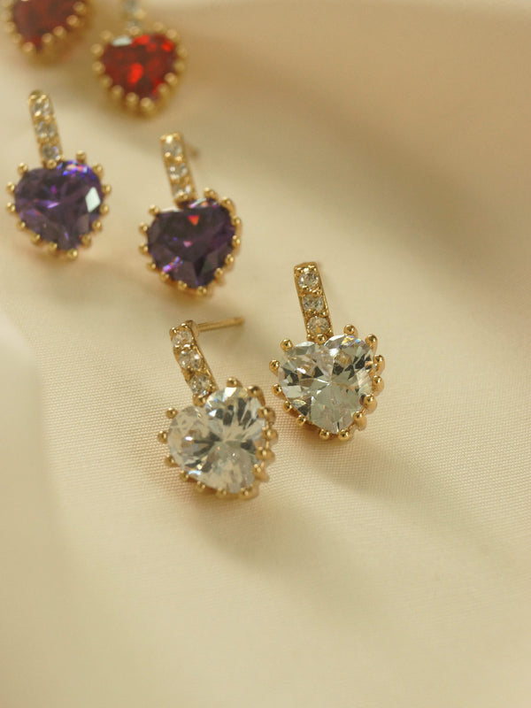 Jewel Heart Earstuds - Clear *18K Gold-plated