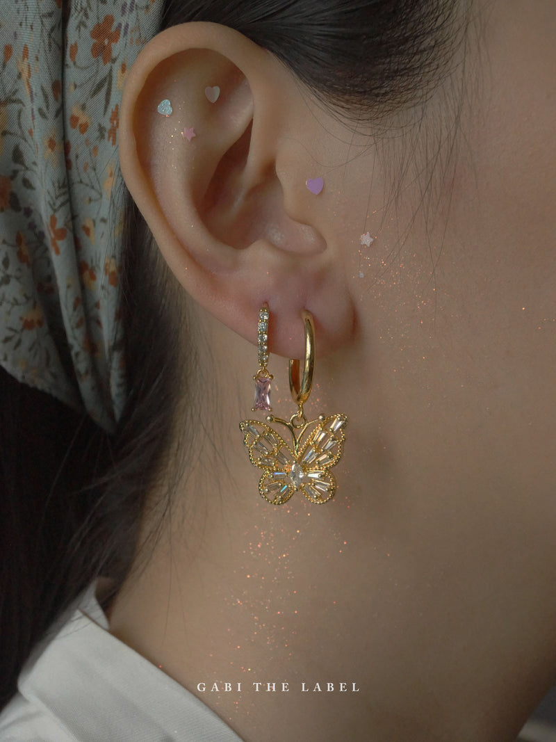 Crystal Butterfly Hoops *18K Gold-plated