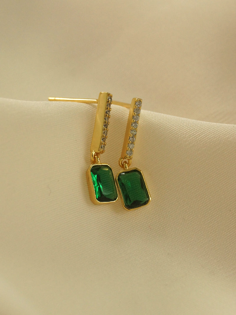Emerald Gem Earrings *18k Gold-plated S925