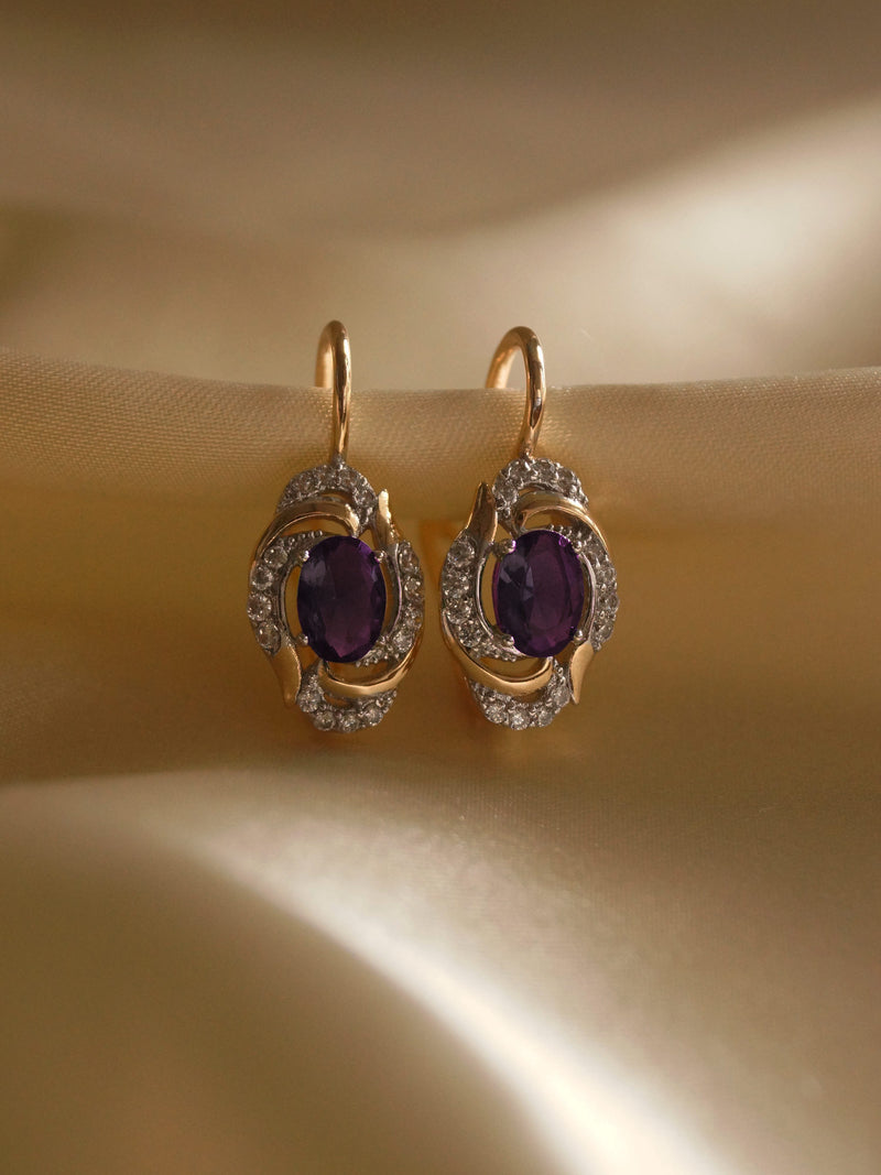 ERZSI Earrings - Amethyst Purple *Gold-plated // GABI EXCLUSIVE