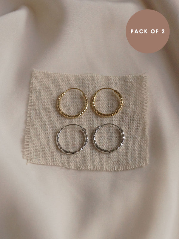 FARAH Hoops (Set of 2) - Gold & Silver