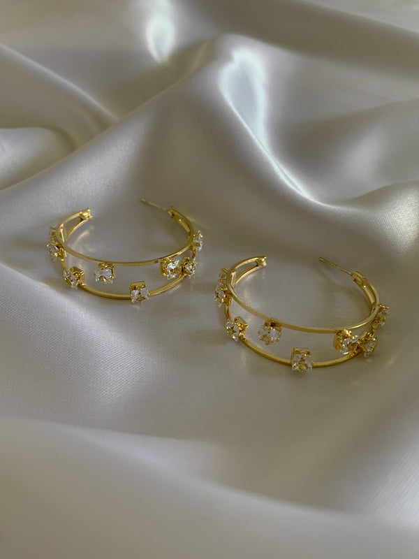 Fregn Crystal Hoops *S925 Earposts