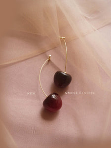 Cherié (Cherry) Earrings *Gold-plated stems