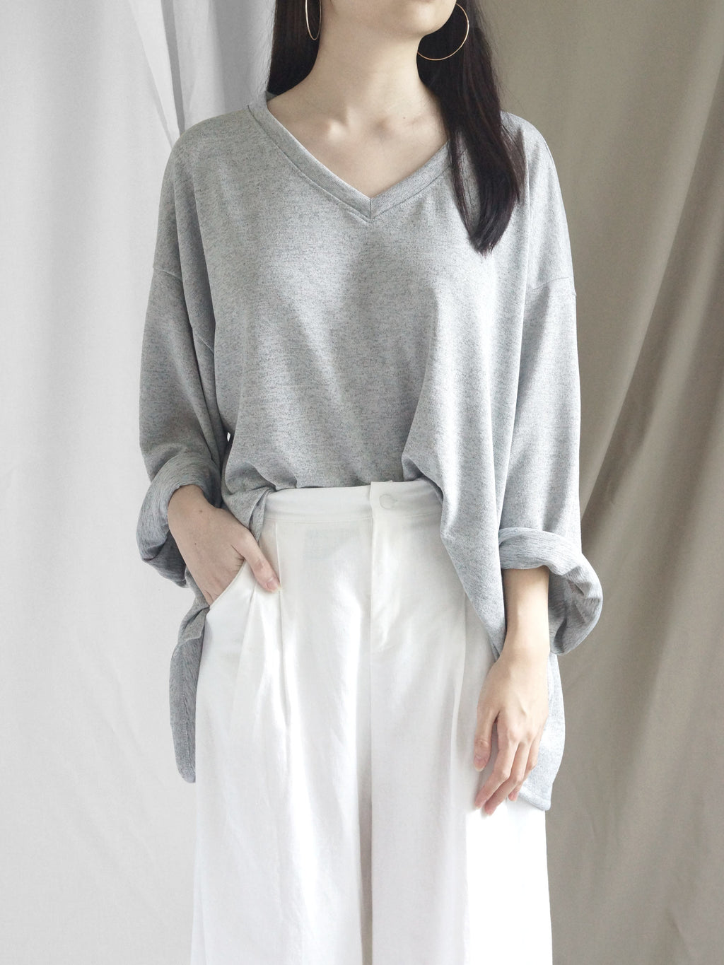 Anais Sweater Top - Heather Grey