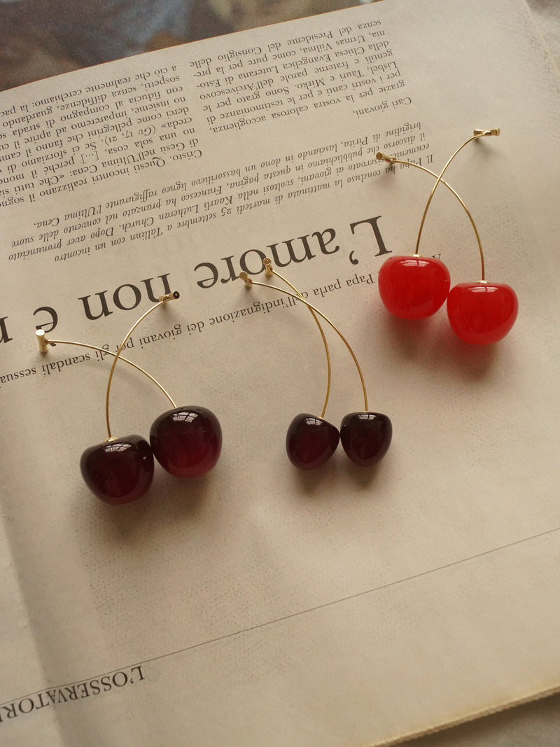 Petit Cherié (Cherry) Earrings *Gold-plated stems