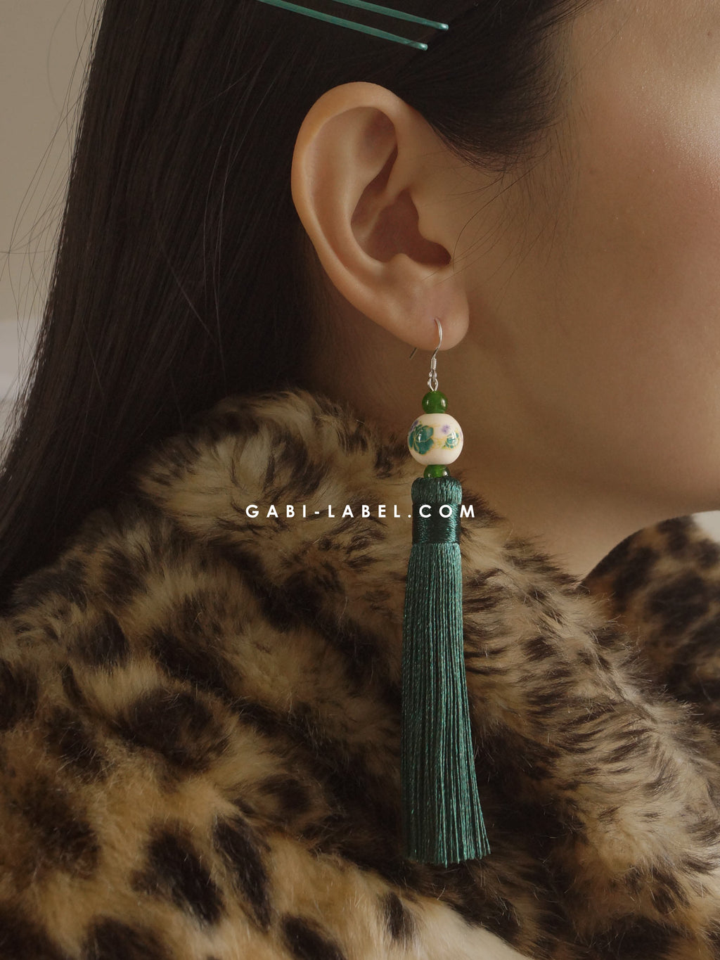 Xiāo Earrings (925 Silver Earhooks) - Royal Green