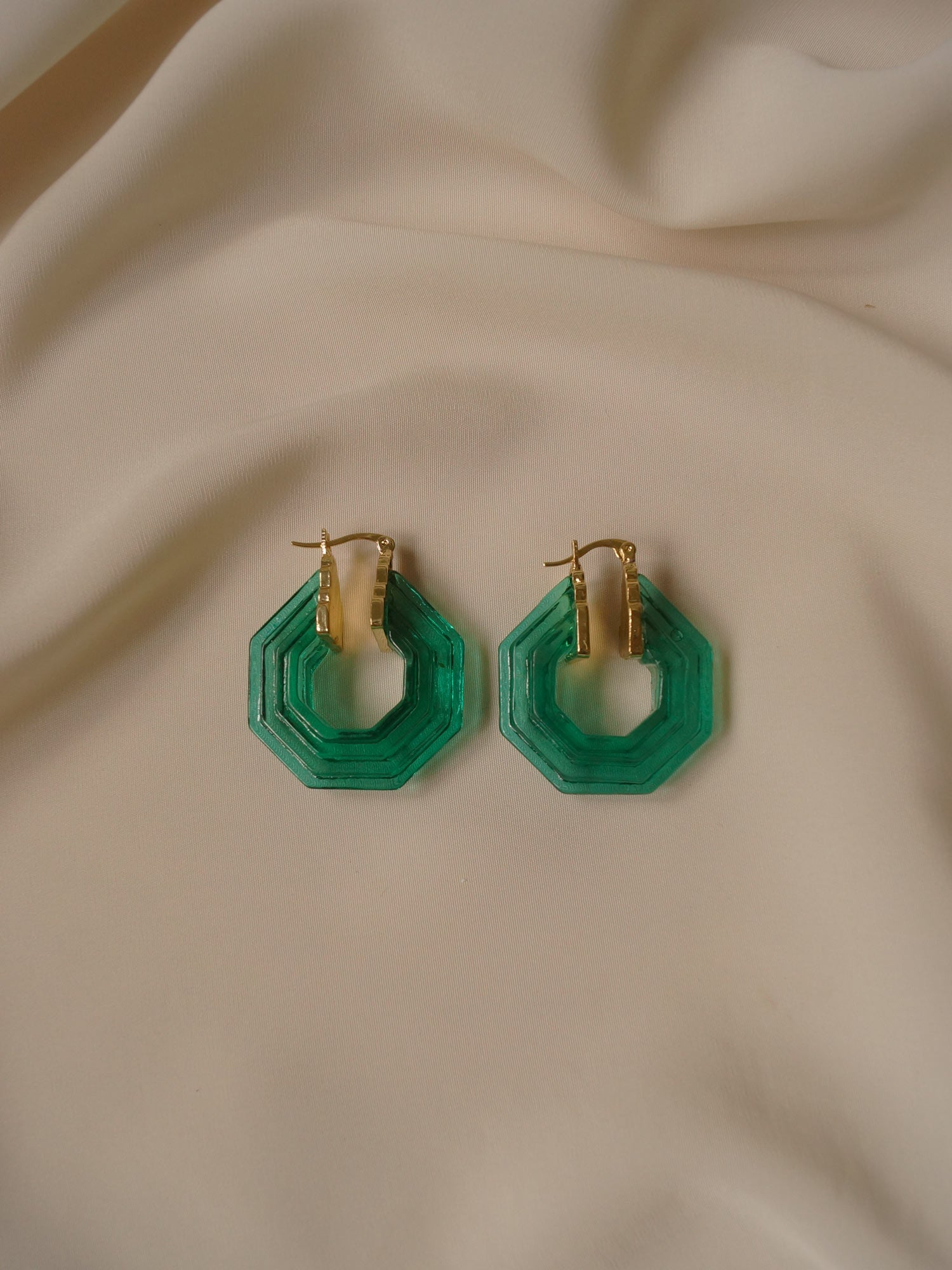 Isla Hoops - Green (Gold-plated) *GABI PREMIUM