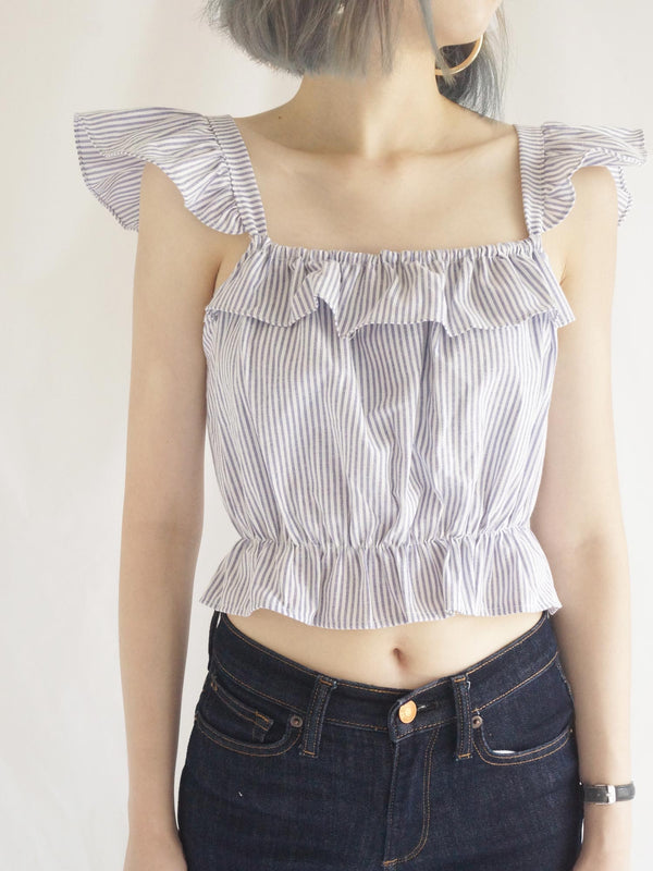 Jackie Flutter Sleeves Top - Blue Stripes