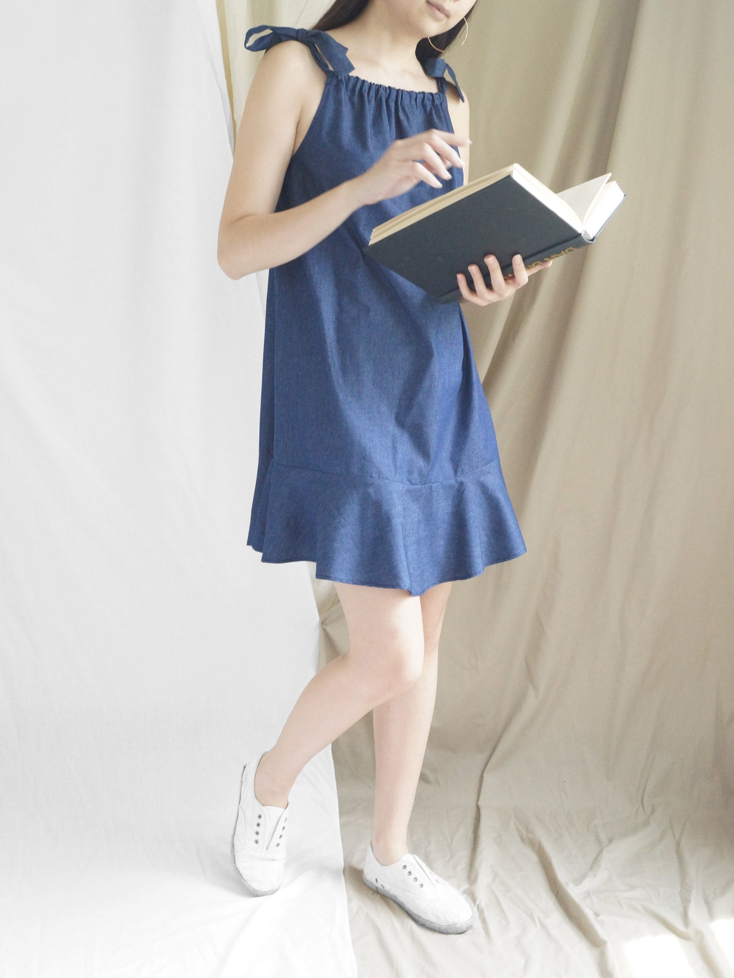 Lulu Ribbon Dress - Dusky Blue