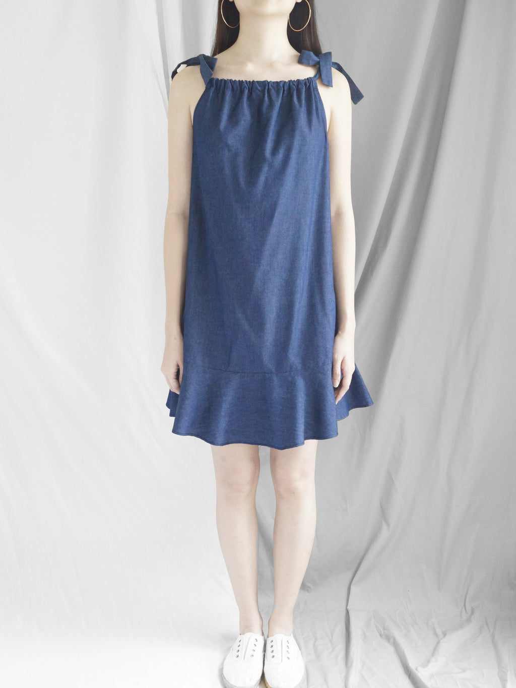 Lulu Ribbon Dress - Dark Denim