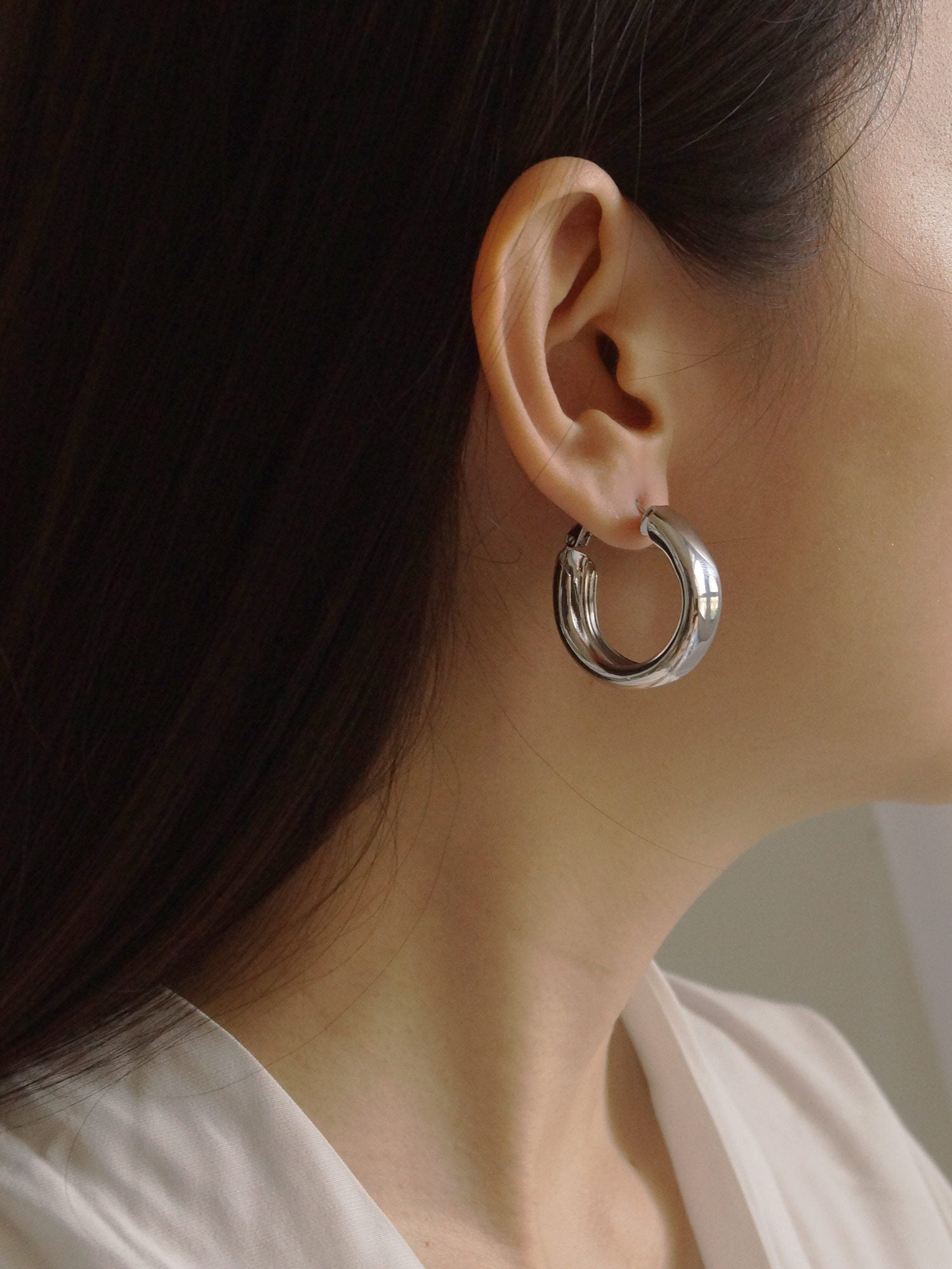 Mù Thick Hoops - Silver