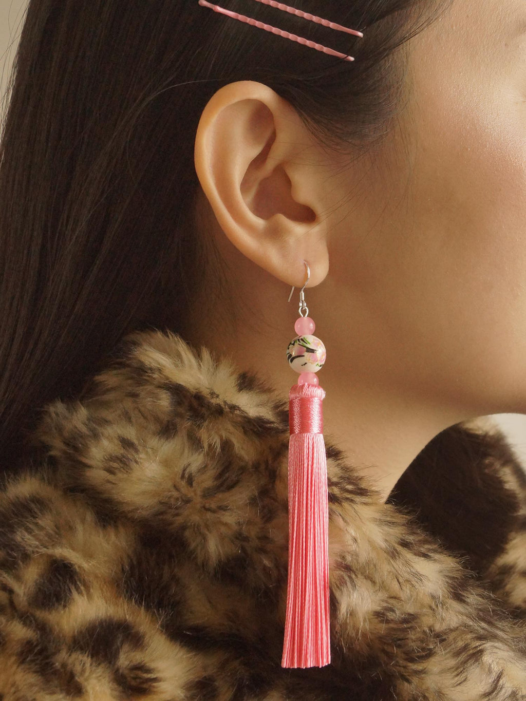 Xi Shi Earrings (925 Silver Earhooks) - Pink