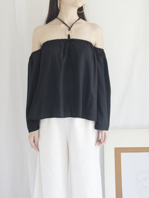 Poka Off-Shoulder Top - Black