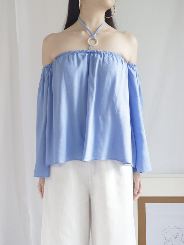 Poka Off-Shoulder Top - Island Blue