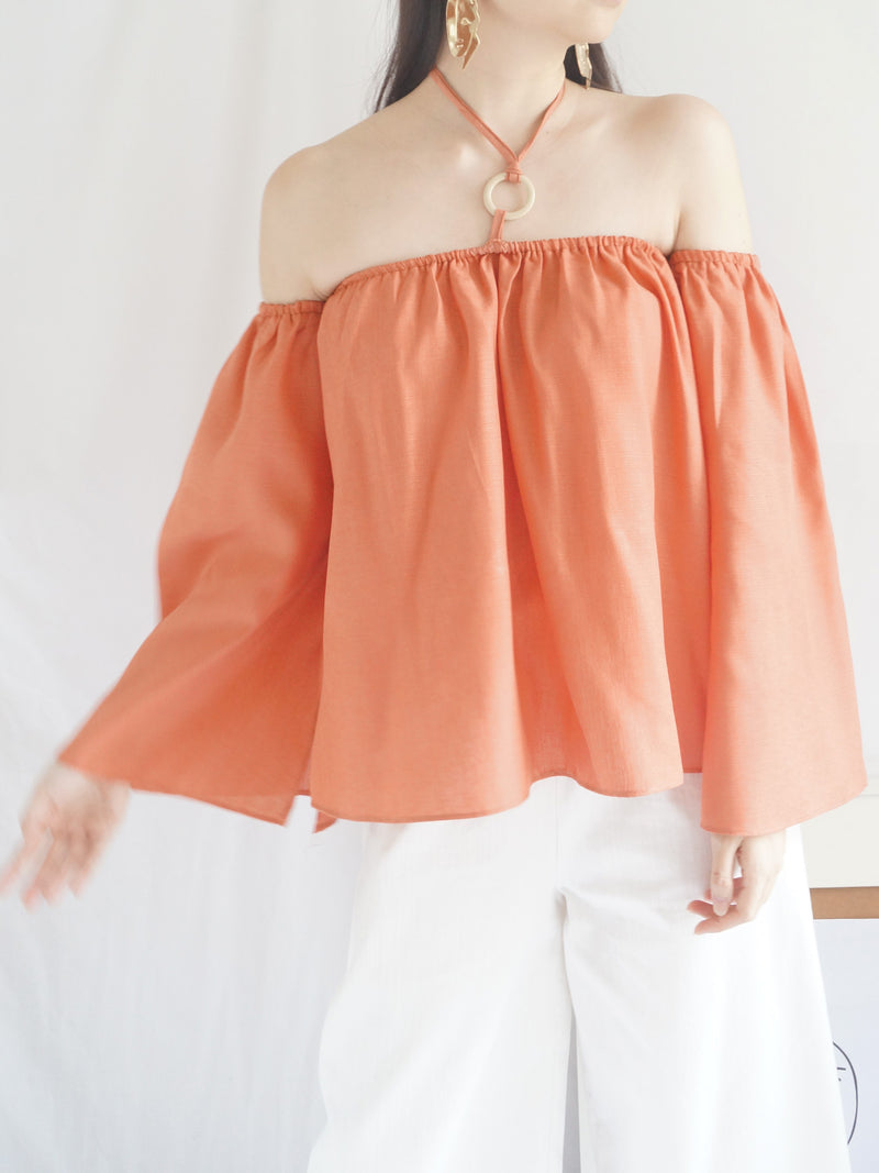 Poka Off-Shoulder Top - Peach