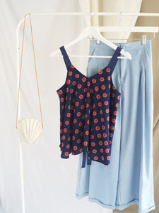 Polly Ribbon Top - Navy Blue