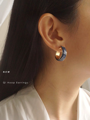 Qí Hoop Earrings - Dark Grey